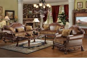 room furniture leather classic pcs: brown bycast leather chenille traditional pc sofa set