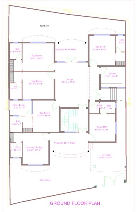 architect home design floor plan layout pk house plans and design architectural design of 1 kanal house