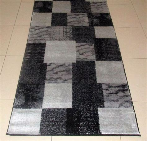 black rug runner new black grey modern heatset hallway runner floor rug 80x150cm ebay