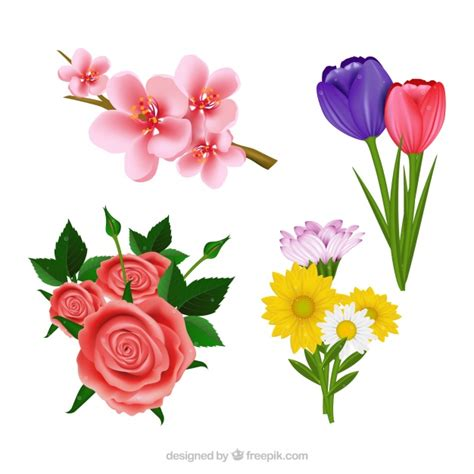 imagenes flores bonitas gratis set de bonitas flores realistas descargar vectores gratis