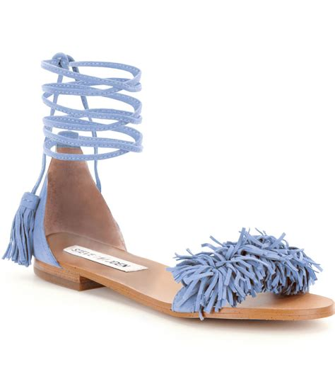 Wedges Boot Yy Coklat lyst steve madden sweetyy lace up fringe sandals in blue