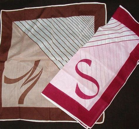 up letter handkerchief two handkerchiefs letters m and s vintage as new