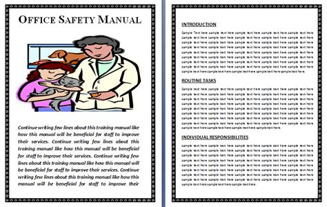 Safety Manual Template Free Printable Word Templates Office Manual Template