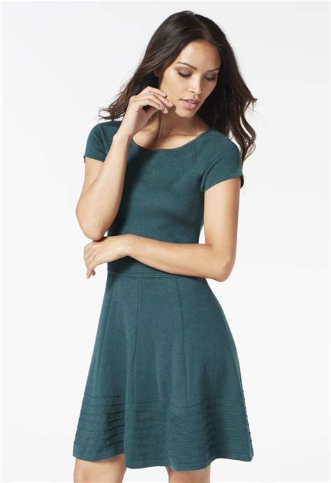 Houston Combine Sweater Sweater Fit And Flare Dress In Forest Green Get Great