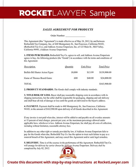 sales agreement contract template free sale agreement form