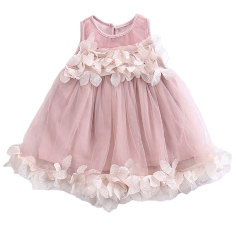 Dress Petal Princess fashion baby lace tulle petals gown dress bridesmaid sundress sleeveless princess