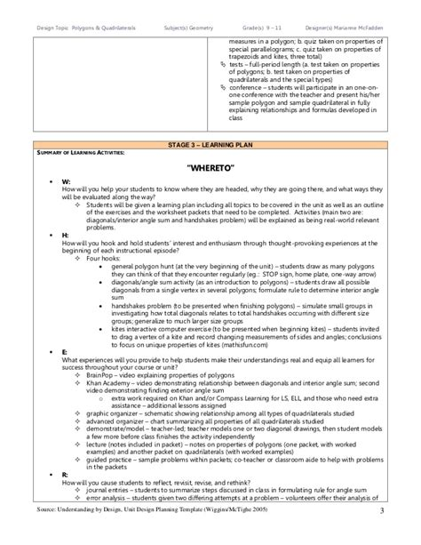 understanding by design unit plan template understanding by design unit plan for polygons and