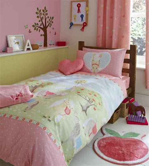 pony bedding girls pony single duvet cover bed set or curtains pink