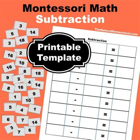 montessori number cards template montessori math subtraction facts presentation and