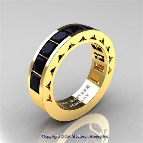 mens modern  yellow gold princess black diamond channel