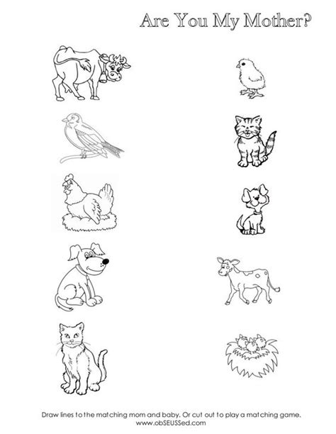 preschool baby animals coloring pages are you my mother worksheet for mom baby animal matching
