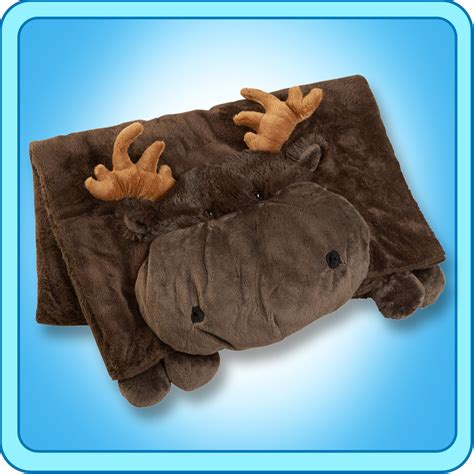 Moose Pillow Pets by Authentic Pillow Pet Chocolate Moose Blanket Plush