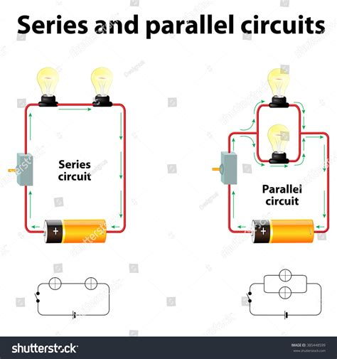 resistors in series and parallel animation series parallel circuits stock vector 385448599