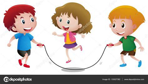 imagenes niños saltando la cuerda tres ni 241 os jugando saltan la cuerda vector de stock