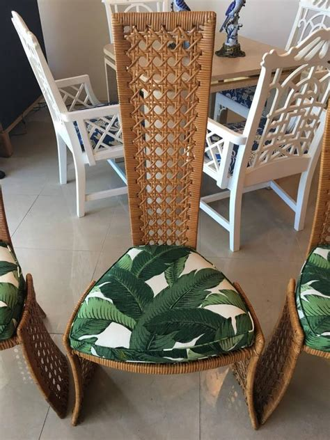 danny ho fong dining table set  side chairs rattan