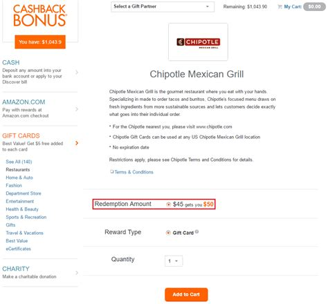 Chipotle Gift Card Cvs - redeem discover it cash back for gift cards egift cards online in app
