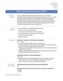 Resume Restaurant Manager by Restaurant Manager Resume Samples Template And Tips