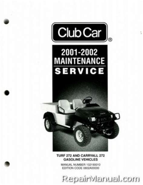 service manual car owners manuals for sale 2002 chevrolet express 1500 seat position control 2001 2002 club car turf carryall 272 gas golf cart service manual
