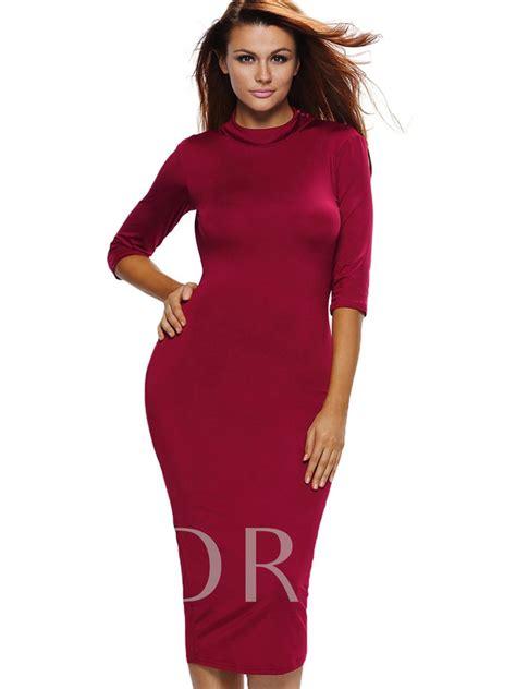 3 4 Sleeve Plain Dress plain 3 4 sleeve s open back dress tbdress