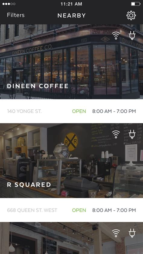 coffee shop ui design workplace main screen list of coffee shops and other