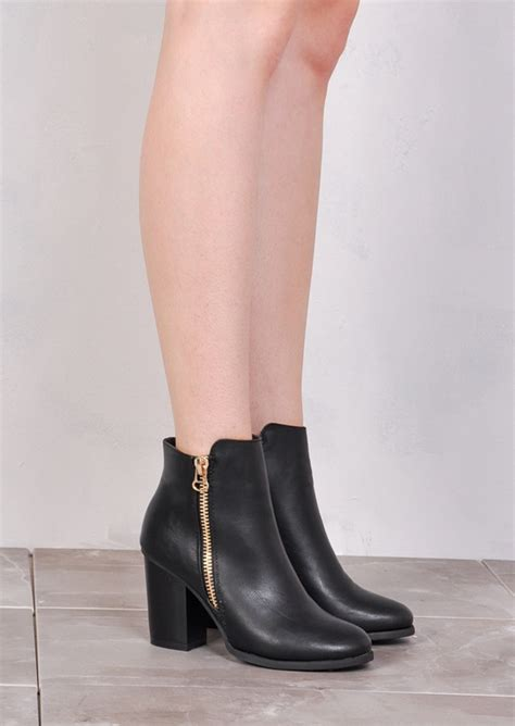 Zipped Ankle Boots block heel duo zipped ankle boots black