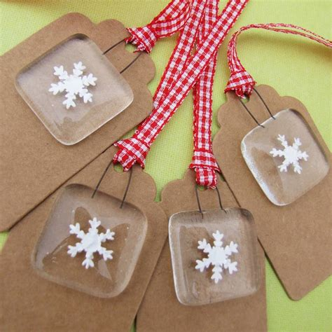 Handmade Glass Gifts - pack of four handmade glass snowflake gift tags by