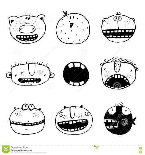 free vector doodle characters doodle outline faces with teeth
