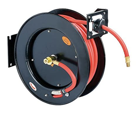 reelworks l815153a steel retractable air compressor water hose reel with 3 8 quot x ebay