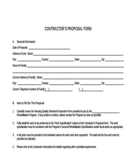 free contractor forms templates form templates