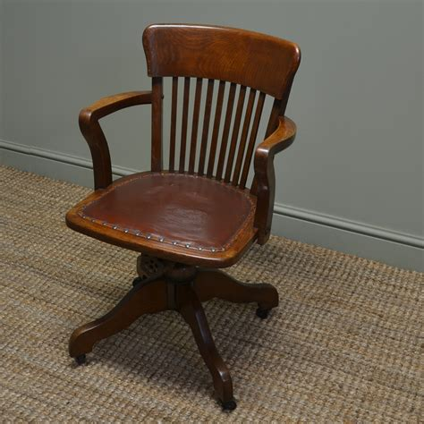 quality edwardian antique oak swivel office chair