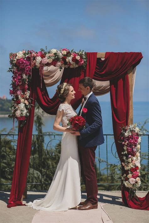 floral  fabric wedding arches  pinterest