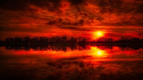 fire red sunset reflection sea desktop pc