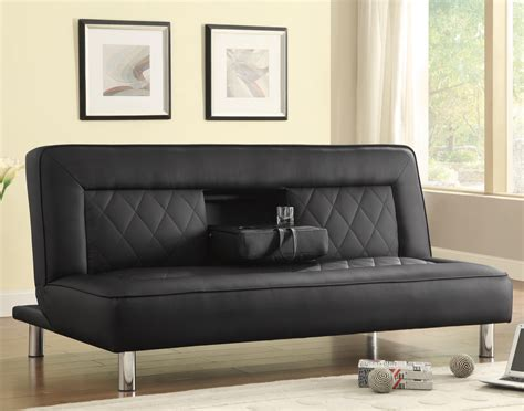 Holder For Bed Or Sofa by Coaster Sofa Beds And Futons Sofa Bed In Black Leatherette