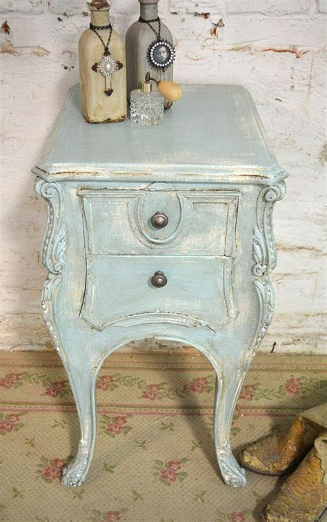 painted cottage chic shabby aqua romantic french night table nt611