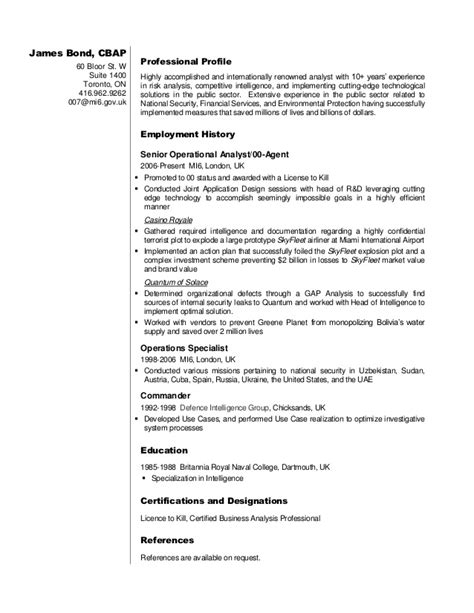 Leadership Examples For Resume by Business Analyst Resume Sample James Bond