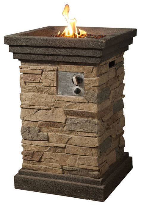 pit column peaktop slate rock square column gas pit with cover