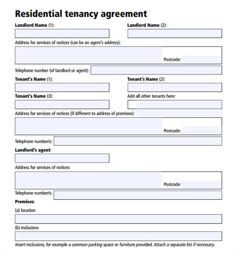 tenancy lease agreement template sle tenancy agreement template 17 free documents in