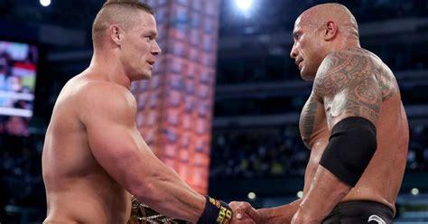 dwayne johnson the rock vs john cena john cena reveals what he told the rock after wrestlemania