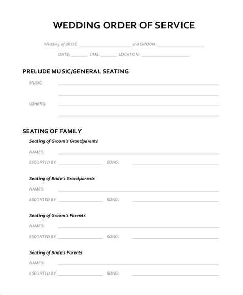 wedding planner outline wedding outline template 6 free word pdf document