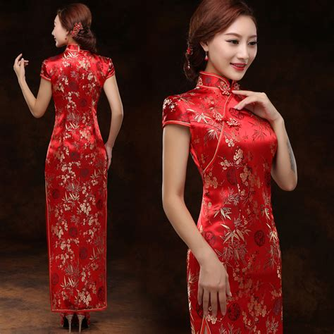 traditional chinese cheongsam dresses gold bamboo red brocade qipao traditional chinese wedding