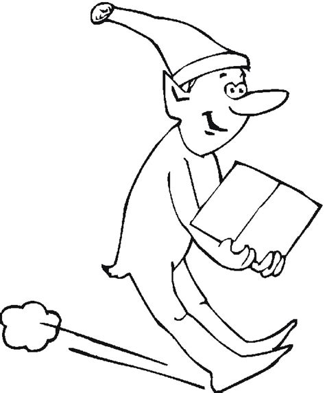 coloring page elf with present free christmas coloring pages
