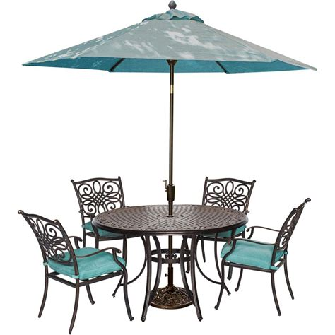 Patio Dining Set With Umbrella Hanover Traditions 5 Outdoor Patio Dining Set And Umbrella And Base With Blue