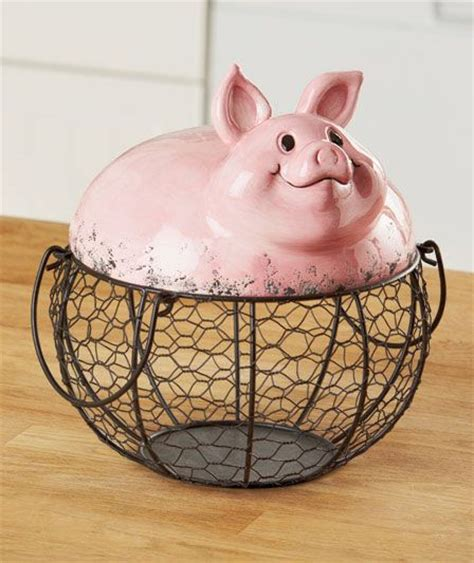 pig decor for home farm pig wire food storage basket country kitchen animal