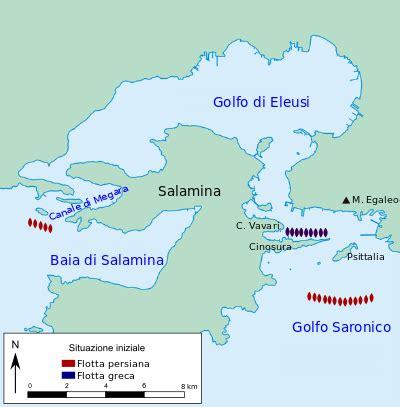 una sintetica rievocazione delle guerre persiane ritrovato luogo dello schieramento navale greco nella