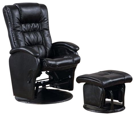 leather glider rocker with ottoman coaster deluxe faux leather glider with ottoman in black