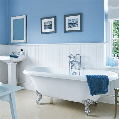 Blue Bathroom Fixtures Blue Traditional Bathroom With White Fittings And Fixtures Housetohome Co Uk