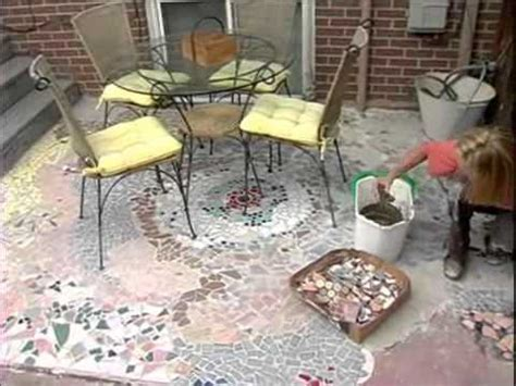 How to Make a Recycled Tile Mosaic Patio   YouTube