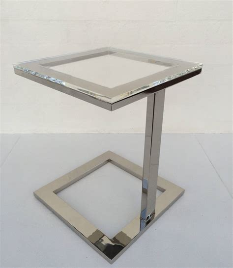 polished nickel table l acrylic and polished nickel side table by milo baughman at