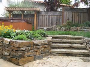 backyard retaining walls ideas backyard with retaining wall and steps l huls