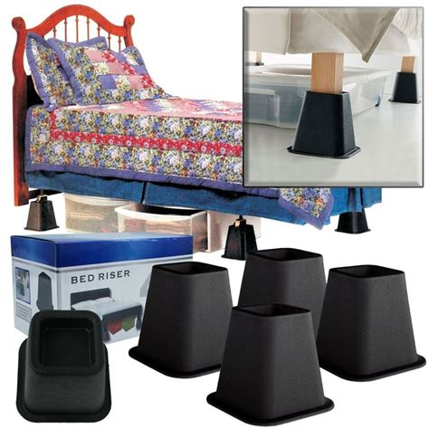 4 inch bed risers 6 inch high bed risers in black 4 pack fastfurnishings com
